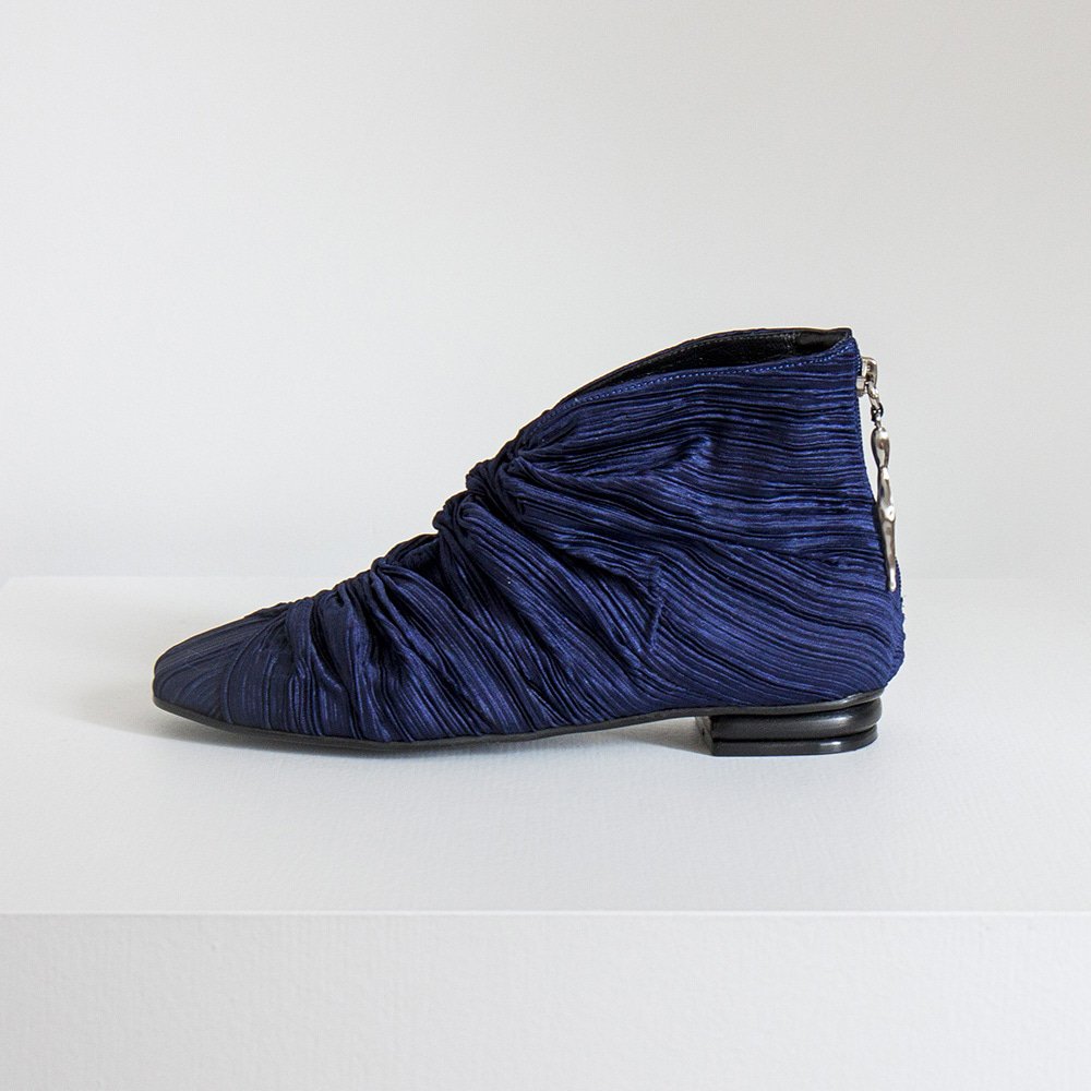 Plated fabric hightop shoes_Blue
