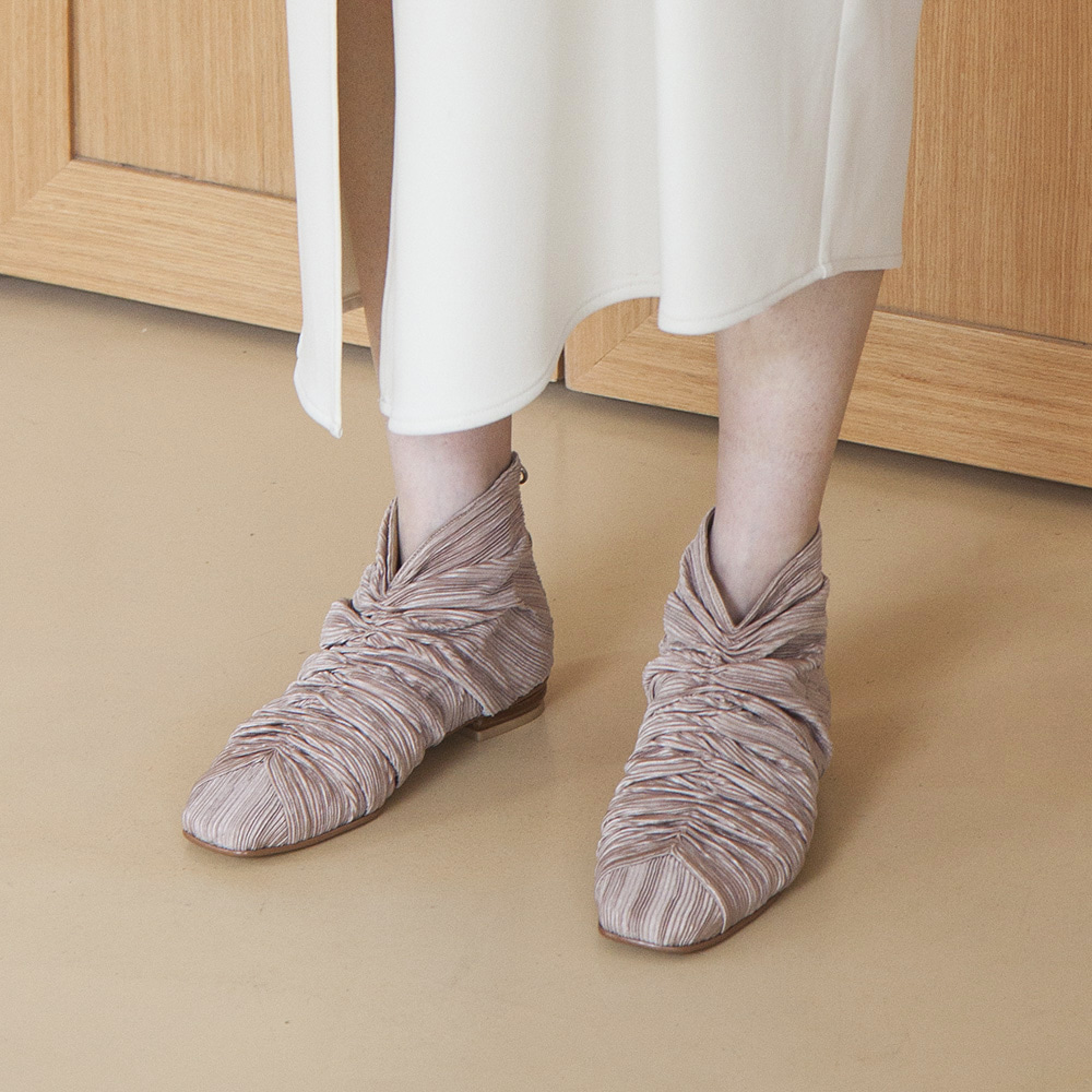 Plated fabric hightop shoes_Beige