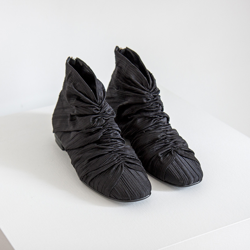 Plated fabric hightop shoes_Black
