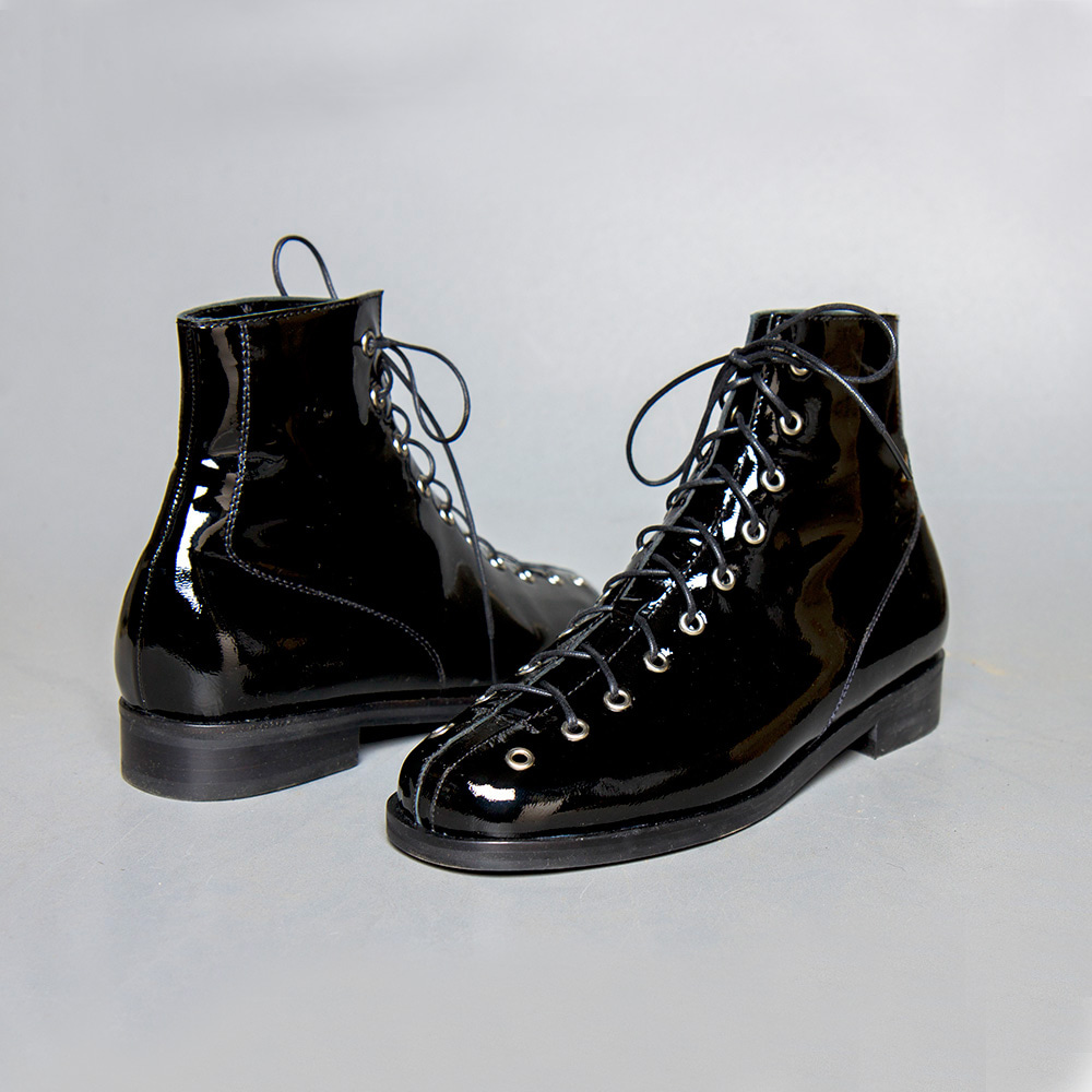Patent leather hightop shoes