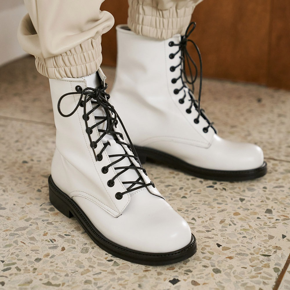 Round toe walker boots_White