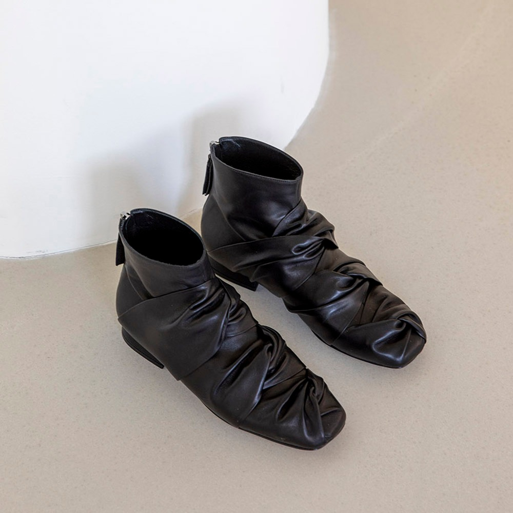 3 knotted ankle boots_Black